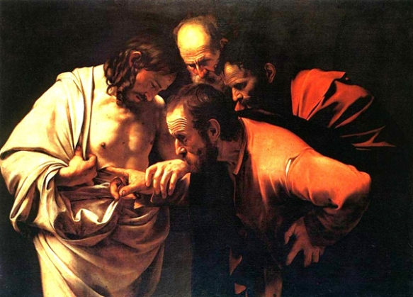 The Incredulity of St Thomas - Caravagio c.1601 - Truth comes to the doubter