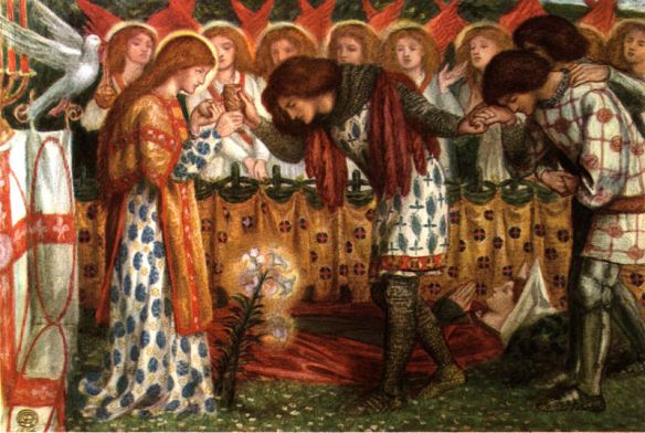How Sir Galahad, Sir Bors and Sir Percival were Fed with the Sanc Grael; But Sir Percival's Sister Died by the Way  Dante Gabriel Rossetti, 1864